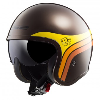 Casque Jet LS2 Spitfire Sunrise Brown Orange Yellow OF599