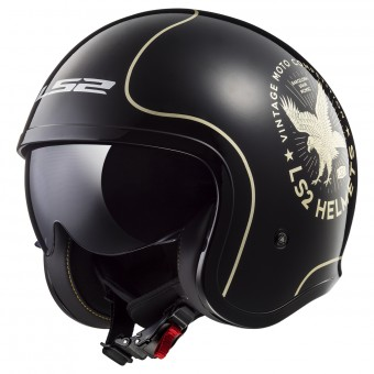 Casque Jet LS2 Spitfire Sunrise Flier Black Gold OF599