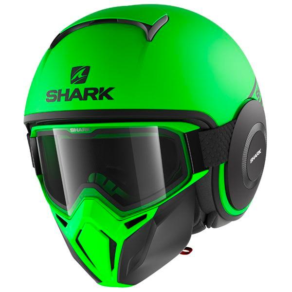 Casque Jet Shark Street Drak Neon Vert Noir Mat