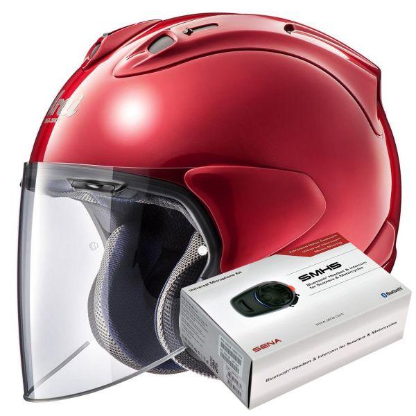 Casque Jet Arai SZ-R Vas Calm Red + Kit Bluetooth Sena SMH5