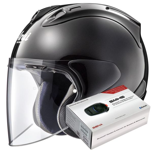 Casque Jet Arai SZ-R Vas Diamond Black + Kit Bluetooth Sena SMH5