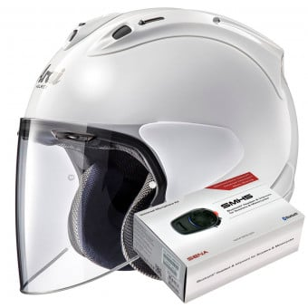 Casque Jet Arai SZ-R Vas Diamond White + Kit Bluetooth Sena SMH5