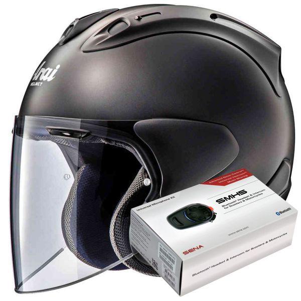 Casque Jet Arai SZ-R Vas Frost Black + Kit Bluetooth Sena SMH5
