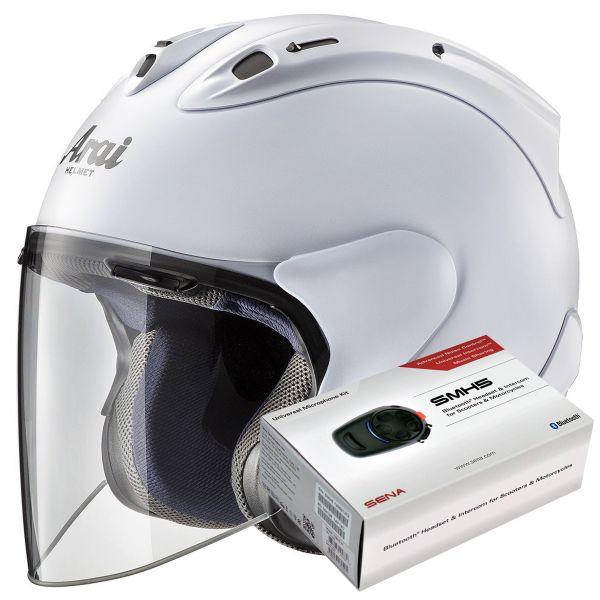 Casque Jet Arai SZ-R Vas Frost White + Kit Bluetooth Sena SMH5 Solo