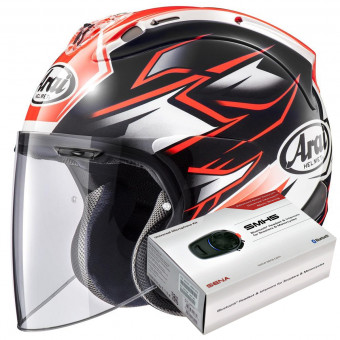 Casque Jet Arai SZ-R Vas Ghost Red + Kit Bluetooth Sena SMH5