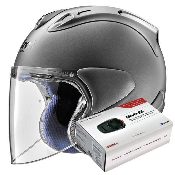 Casque Jet Arai SZ-R Vas Gun Metal Mat + Kit Bluetooth Sena SMH5