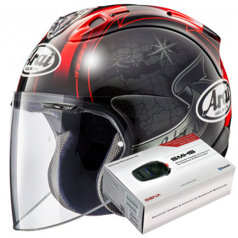 Casque Jet Arai SZ-R Vas Harada Tour Black + Kit Bluetooth Sena SMH5