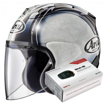 Casque Jet Arai SZ-R Vas Harada Tour White + Kit Bluetooth Sena SMH5