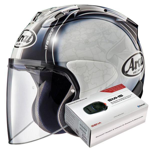Casque Jet Arai SZ-R Vas Harada Tour White + Kit Bluetooth Sena SMH5
