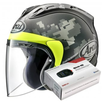 Casque Jet Arai SZ-R Vas Mimetic Black + Kit Bluetooth Sena SMH5