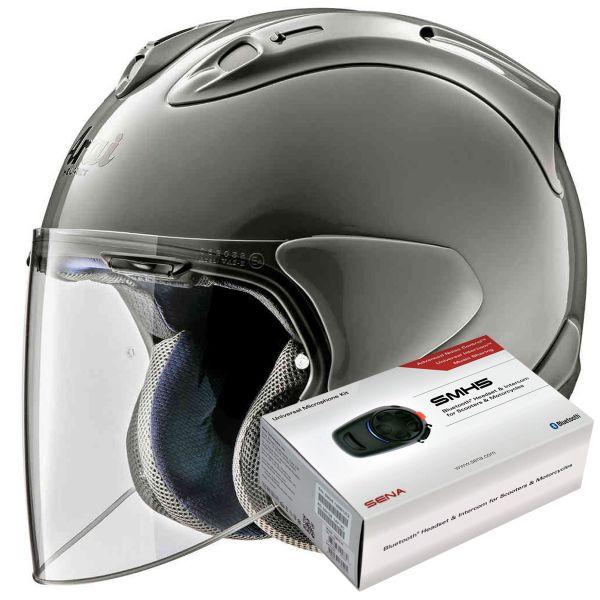 Casque Jet Arai SZ-R Vas Modern Grey + Kit Bluetooth Sena SMH5