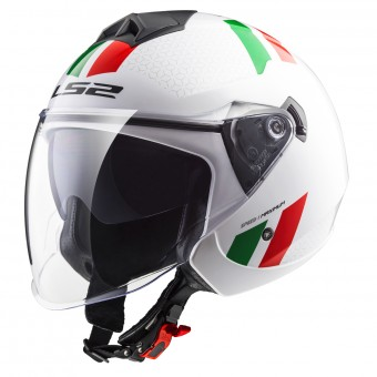 Casque Jet LS2 Twister Combo White Green Red OF573