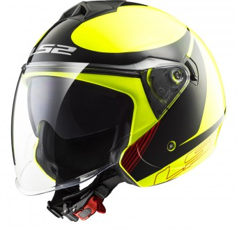 Casque Jet LS2 Twister Plane Yellow Black Red OF573