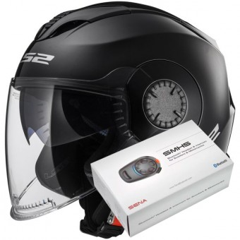 Casque Jet LS2 Verso Black OF570 + Kit Bluetooth Sena SMH5