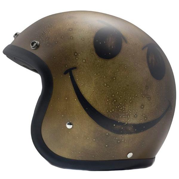 Casque Jet Dmd Vintage Handmade Smile Dark Gold
