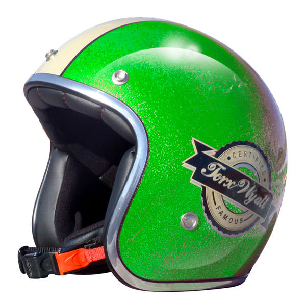 Casque Jet Torx Wyatt Famous Glitter Vert
