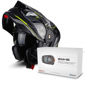 Casque Modulable Scorpion ADX-1 Anima Matt Black Neon Yellow + Kit Bluetooth Sena SMH5