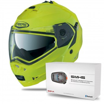 Casque Modulable Caberg Duke II Hivizion + Kit Bluetooth Sena SMH5