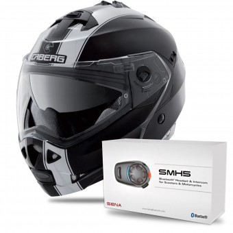Casque Modulable Caberg Duke II Legend Black White + Kit Bluetooth Sena SMH5