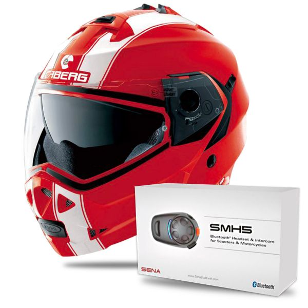Casque Modulable Caberg Duke II Legend Ducati Red White + Kit Bluetooth Sena SMH5