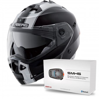 Casque Modulable Caberg Duke II Legend Matt Black White + Kit Bluetooth Sena SMH5