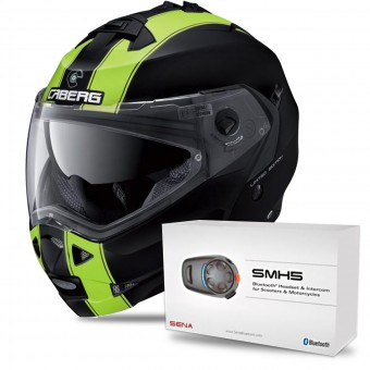 Casque Modulable Caberg Duke II Legend Matt Black Yellow Fluo + Kit Bluetooth Sena SMH5