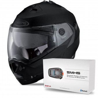Casque Modulable Caberg Duke II Matt Black + Kit Bluetooth Sena SMH5
