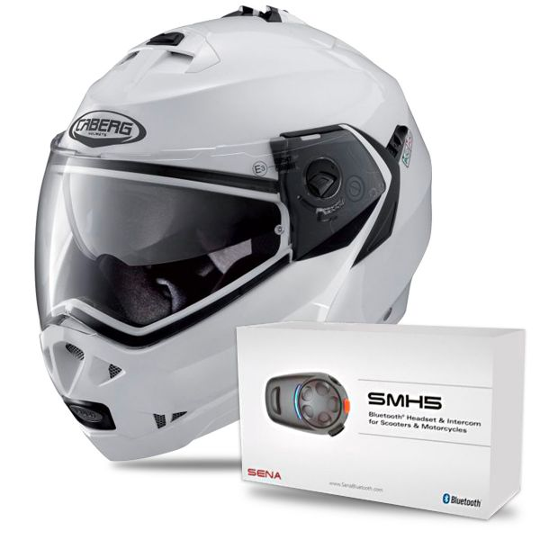 Casque Modulable Caberg Duke II Metal White + Kit Bluetooth Sena SMH5