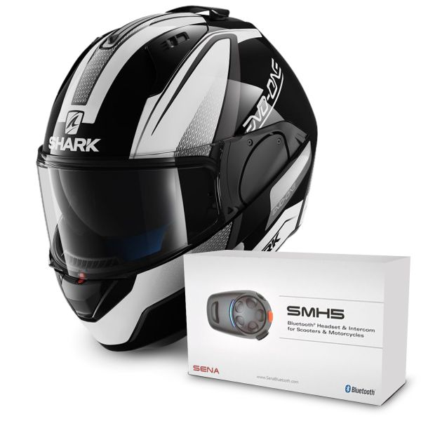 Casque Modulable Shark Evo-One Astor KWA + Kit Bluetooth Sena SMH5 Solo