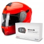 Casque Modulable Scorpion Exo 920 Neon Red + Kit Bluetooth Sena SMH5 Solo