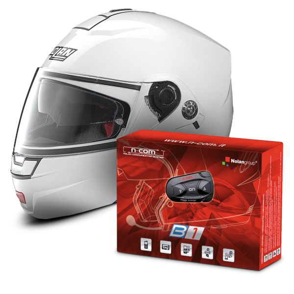 Casque Nolan N91 Evo Classic N Com White 5 Kit Bluetooth B1