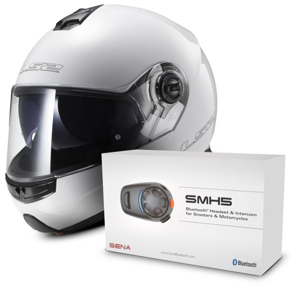 Casque Modulable LS2 Strobe White FF325 + Kit Bluetooth Sena SMH5