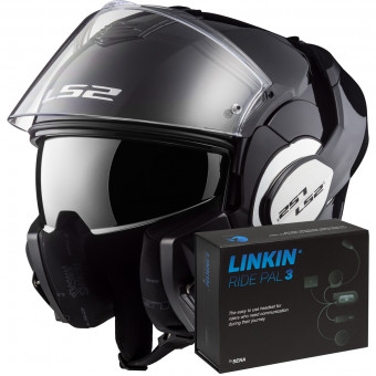 Casque Modulable LS2 Valiant Solid Gloss Black FF399 + Linkin Ride Pal III