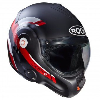 Casque Modulable Roof Desmo Reverso Noir Mat Rouge