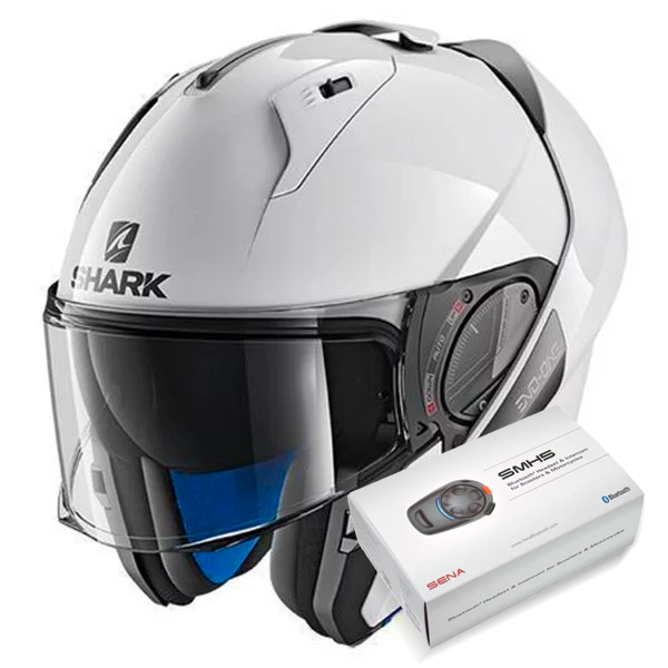 Casque Modulable Shark Evo-One 2 Blank WHU + Kit Bluetooth Sena SMH5