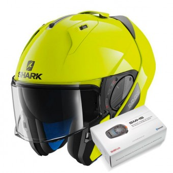 Casque Modulable Shark Evo-One 2 Hi-Vis YKY + Kit Bluetooth Sena SMH5
