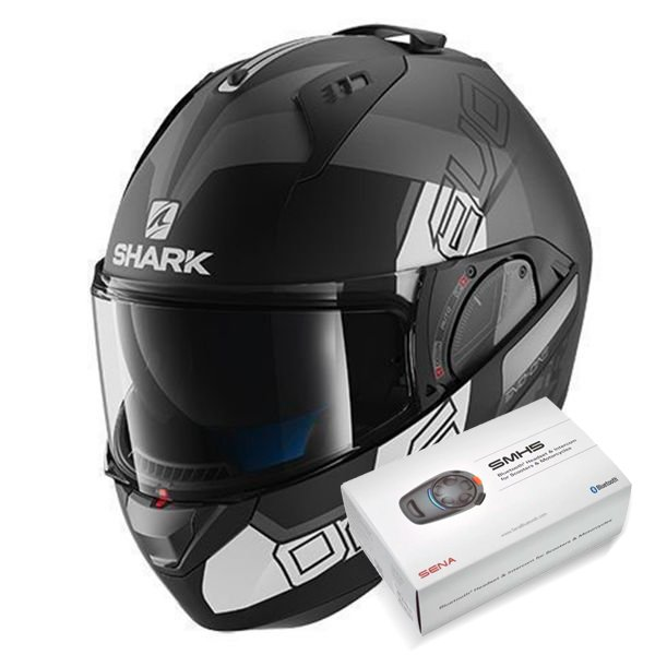 Casque Modulable Shark Evo-One 2 Slasher Mat KAW + Kit Bluetooth Sena SMH5