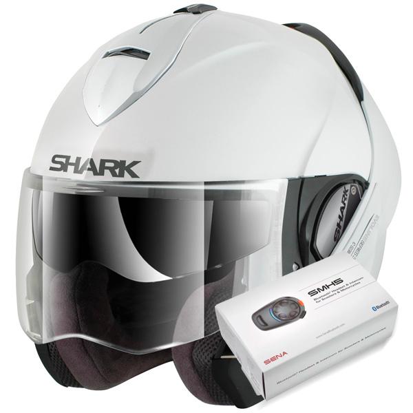 Casque Modulable Shark Evoline Serie 3 Fusion WHU + Kit Bluetooth Sena SMH5