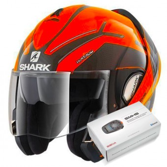 Casque Modulable Shark Evoline Serie 3 Hataum Hi-Vis OKA + Kit Bluetooth Sena SMH5
