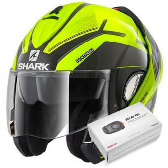 Casque Modulable Shark Evoline Serie 3 Hataum Hi-Vis YKA + Kit Bluetooth Sena SMH5