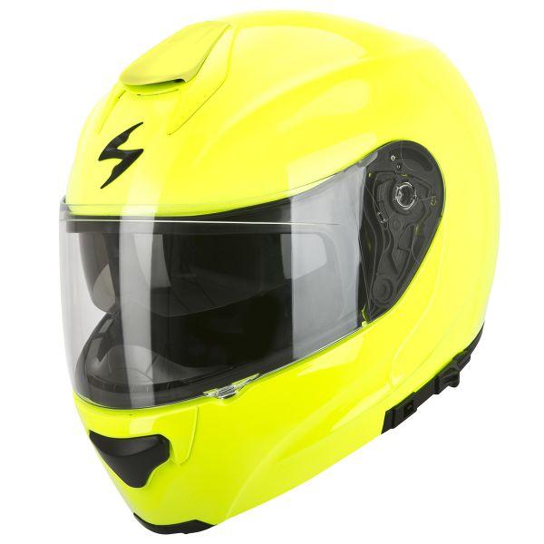Casque moto jaune fluo