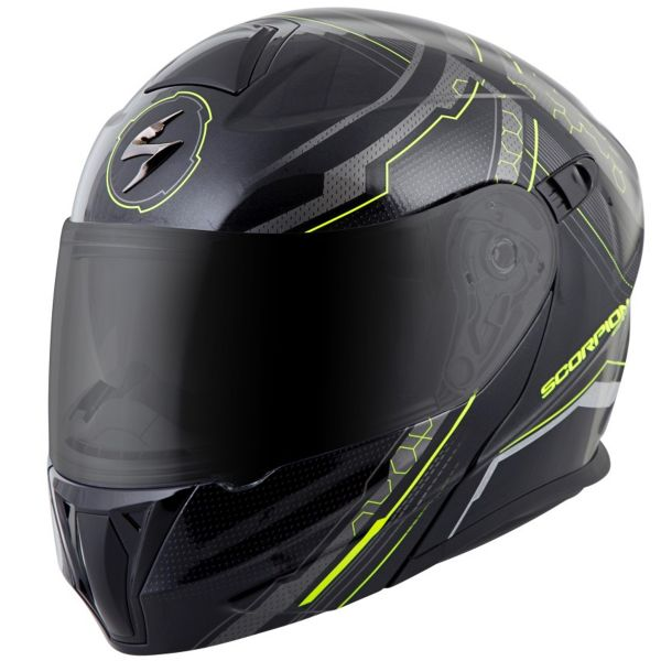 Casque Modulable Scorpion Exo 920 Satellite Black Neon Yellow