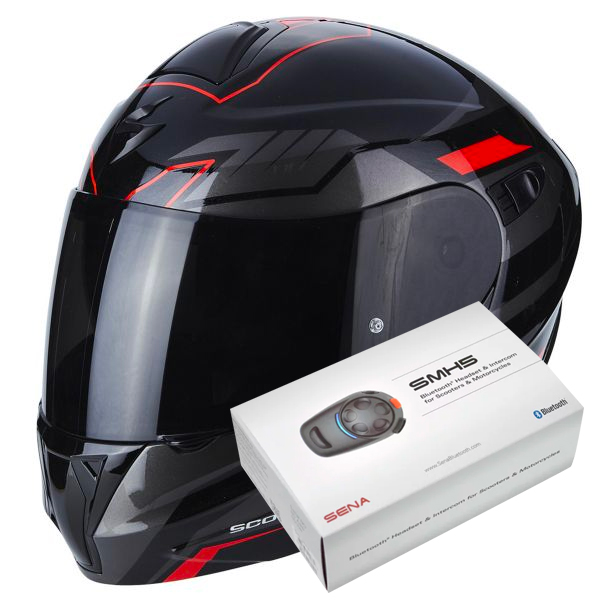Casque scorpion exo 920 shuttle black silver red kit - Casque moto modulable bluetooth ...