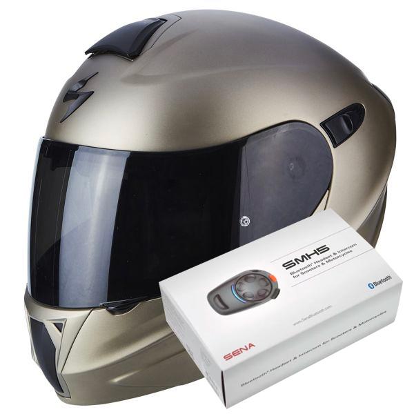 Casque Modulable Scorpion Exo 920 Titanium + Kit Bluetooth Sena SMH5