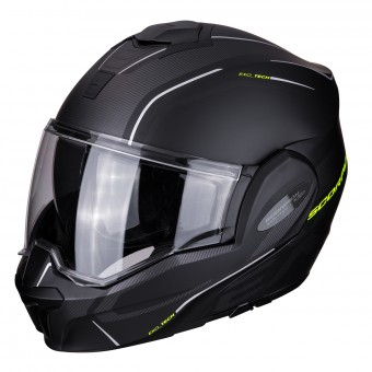 Casque Modulable Scorpion Exo Tech Time-Off Noir Mat Jaune Fluo