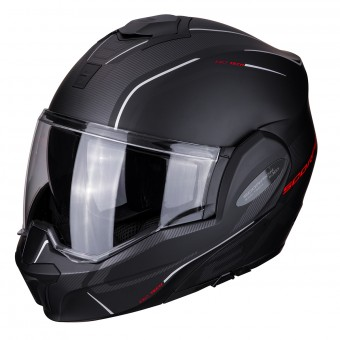 Casque Modulable Scorpion Exo Tech Time-Off Noir Mat Rouge