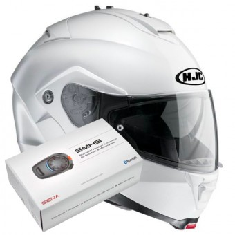 Casque Modulable HJC IS-MAX II Blanc + Kit Bluetooth Sena SMH5