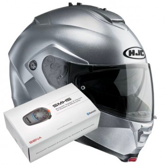 Casque Modulable HJC IS-MAX II CR Silver + Kit Bluetooth Sena SMH5