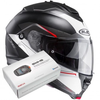 Casque Modulable HJC IS-MAX II Magma MC1SF + Kit Bluetooth Sena SMH5
