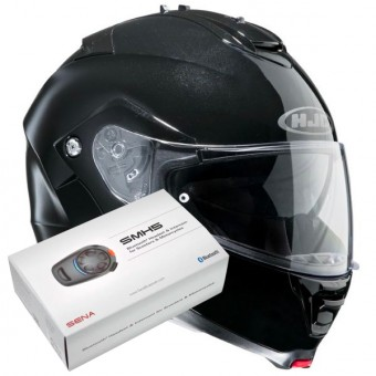 Casque Modulable HJC IS-MAX II Noir + Kit Bluetooth Sena SMH5